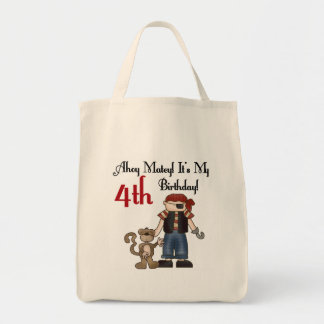 Ahoy Matey Pirate 4th Birthday Tshirts and Gifts Tote Bag