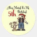 Ahoy Matey Pirate 5th Birthday Round Stickers