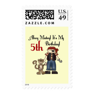 Ahoy Matey Pirate 5th Birthday Stamp