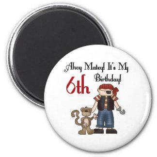 Ahoy Matey Pirate 6th Birthday Magnet