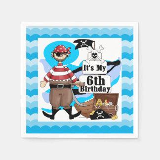 Ahoy Matey Pirate 6th Birthday Paper Napkins