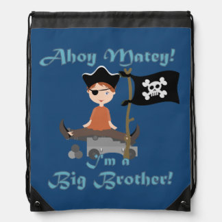 Ahoy Matey Pirate Big Brother Drawstring Bag