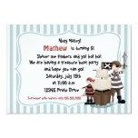 """Ahoy Matey -Pirate birthday party invitation-b n w 5"""" X 7"""" Invitation Card"""