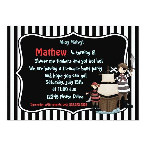 "Ahoy Matey -Pirate birthday party invitation-black 5"" X 7"" Invitation Card"