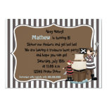 "Ahoy Matey -Pirate birthday party invitation-brown 5"" X 7"" Invitation Card"