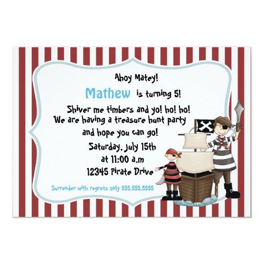 Ahoy Matey -Pirate birthday party invitation-r n w Card