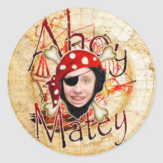 Ahoy Matey Pirate Classic Round Sticker