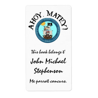 Ahoy Matey Pirate Label Personalized Shipping Label