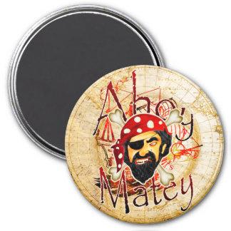 Ahoy Matey Pirate 3 Inch Round Magnet
