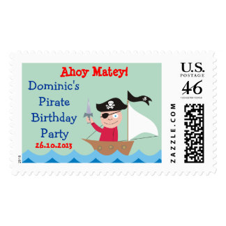 Ahoy Matey Pirate Party Custom Postage Stamps