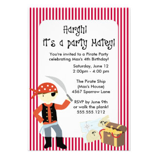 ahoy matey pirate party invitation