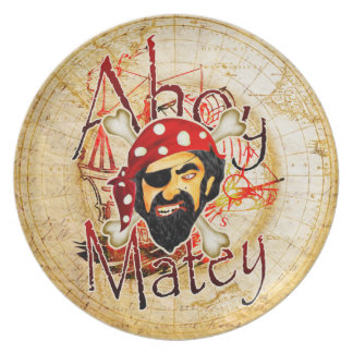 Ahoy Matey Pirate plate