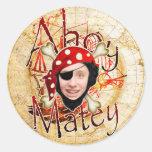 Ahoy Matey Pirate Round Sticker