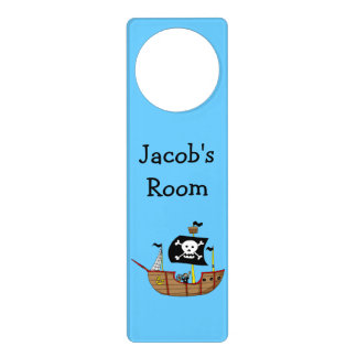 ahoy matey pirate ship - just add name door knob hanger