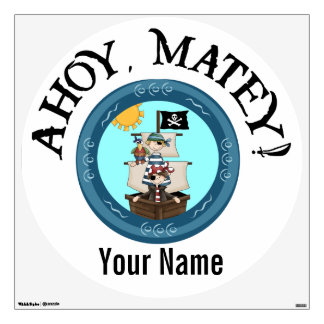 Ahoy Matey Pirate Ship Wall Decal