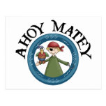 Ahoy Matey Pirate with Parrot Postcard Post Card