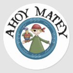 Ahoy Matey Pirate with Parrot Stickers Round Stickers