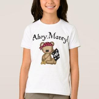 Ahoy Matey Teddy Bear Pirate Girls Ringer T-shirt
