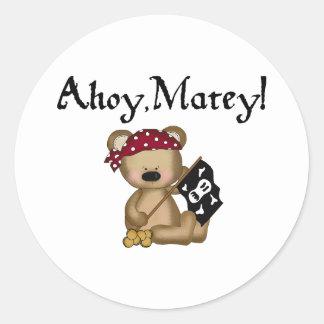 Ahoy Matey Teddy Bear Pirate Stickers Round Stickers