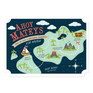 """Ahoy Mateys Birthday Invite 5"""" X 7"""" Invitation Card"""