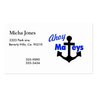 Ahoy Mateys With Anchor Business Card