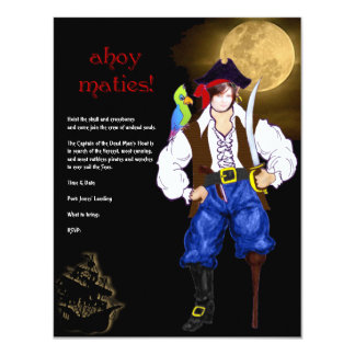 Ahoy Maties! Pirate Halloween Party 4.25x5.5 Paper Invitation Card