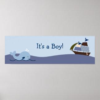 Ahoy muestra náutica de la bandera de la fiesta de póster