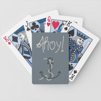 Ahoy naipes náuticos del texto y del ancla de la baraja cartas de poker