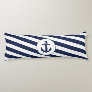 Ahoy! Nautical Anchor Navy Blue & White Stripes Body Pillow