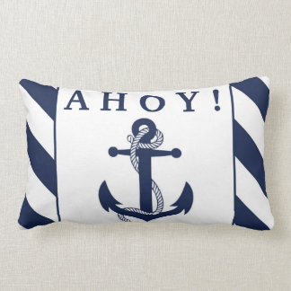 Ahoy! Nautical Anchor Navy Blue & White Stripes Lumbar Pillow