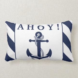 Ahoy! Nautical Anchor Navy Blue & White Stripes Throw Pillows