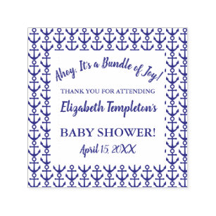 Delightful Ahoy Nautical Baby Shower Thank You Stamp