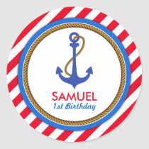 AHOY! Nautical Birthday Baby Shower Classic Round Sticker