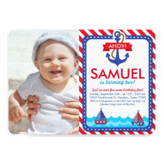 AHOY! Nautical Birthday Party Photo Invitation