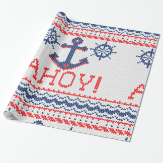 AHOY Nautical Knit Christmas Jumper Style Wrapping Paper