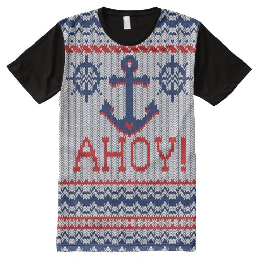 Ahoy Nautical Ugly Christmas Sweater Style All-Over Print Shirt