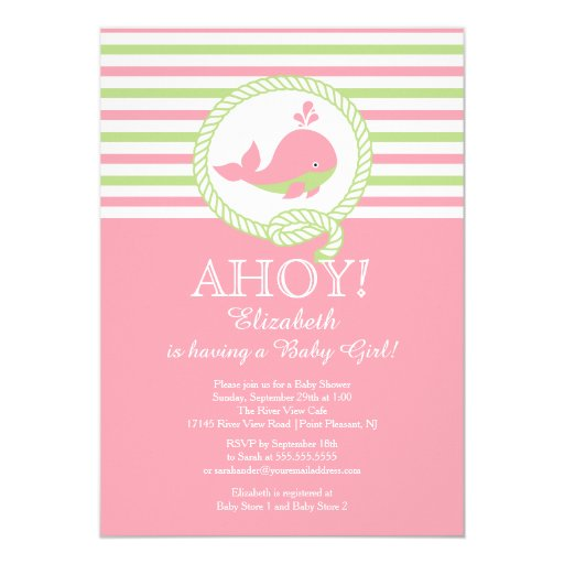 ahoy nautical whale girls baby shower invitation zazzle