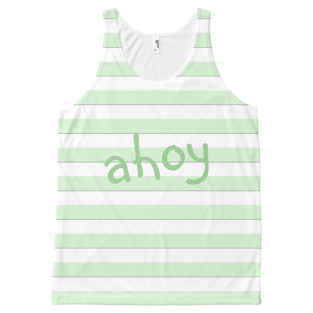 Ahoy Pastel Green Stripes on any Color any Text