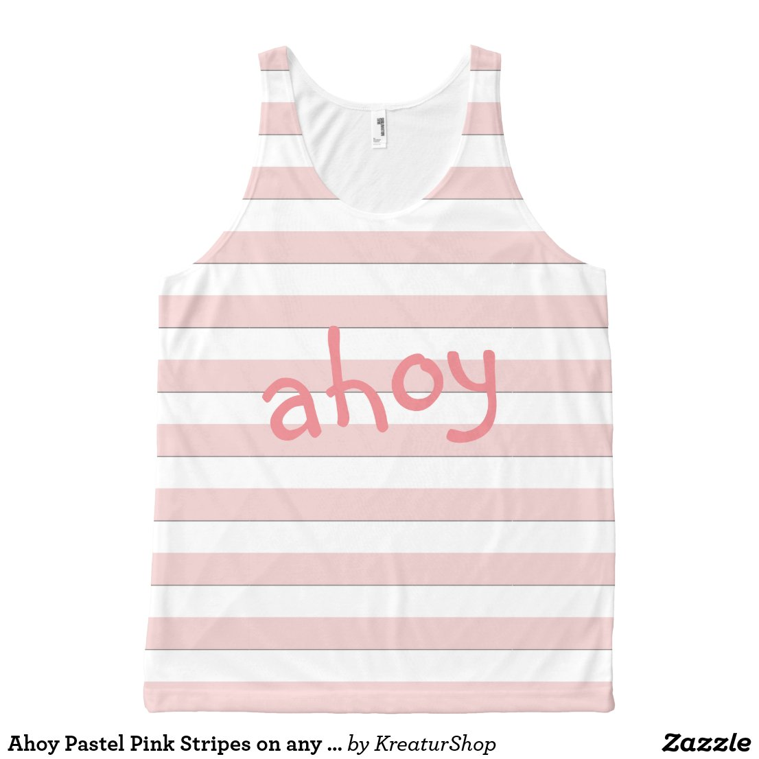Ahoy Pastel Pink Stripes on any Color any Text