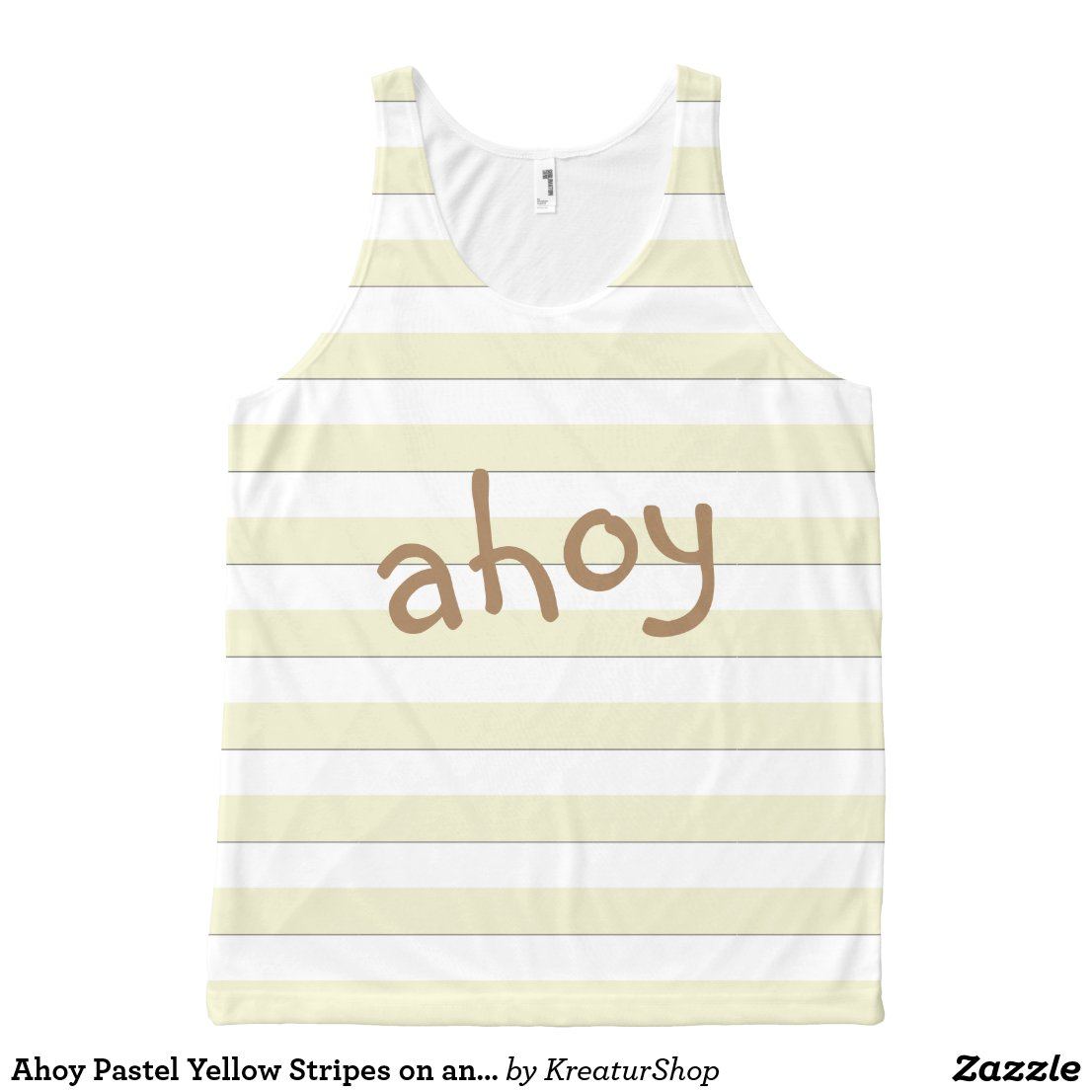 Ahoy Pastel Yellow Stripes on any Color any Text
