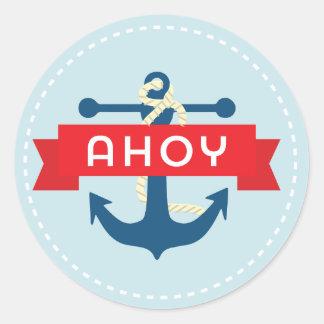 ¡Ahoy! Pegatinas náuticos del ancla Pegatinas Redondas