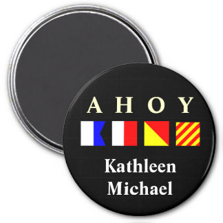 Ahoy Personalized Stateroom Door Marker 3 Inch Round Magnet