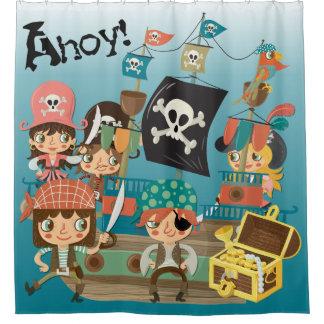 Ahoy piratas y barco pirata cortina de baño