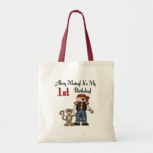 Ahoy Pirate First Birthday Tshirts and Gifts Canvas Bag
