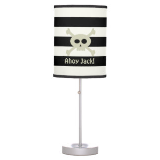 Ahoy! Pirate Skull Stripe Personalized Table Lamp