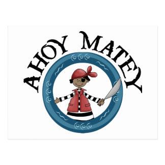 Ahoy postal afable del pirata de Patcheye