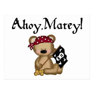 Ahoy postal afable del pirata del oso de peluche