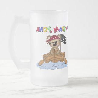 Ahoy regalo afable del pirata taza de cristal