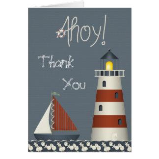 Ahoy Sail Boat & Lighthouse Thank You Card