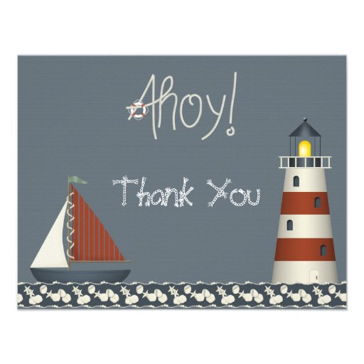 Ahoy Sail Boat & Lighthouse Thank You Note Cards Announcement
